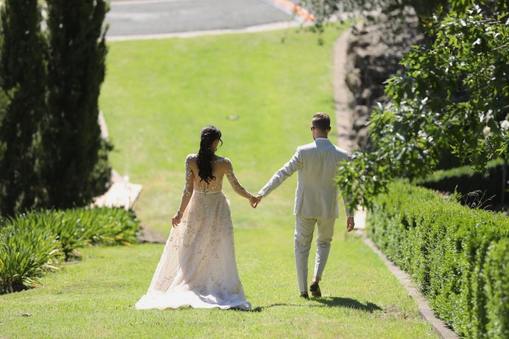 Lee Grebenau real bride wearing Giselle gown