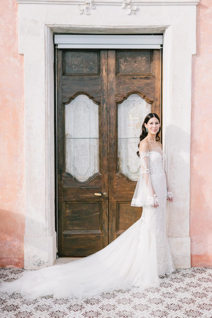Lee Grebenau real bride wearing the Ellie gown