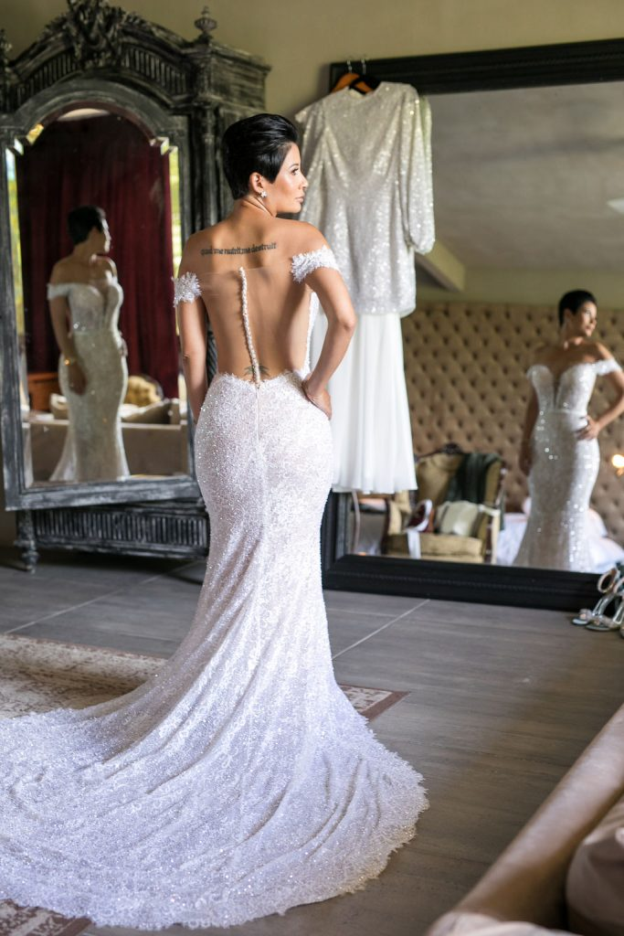 Lee Grebenau bride wearing the Amber